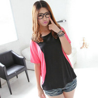 Casual Women Short sleeve contrast color patchwork loose big yards bat shirt 8264-D1