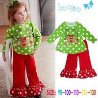 5set Children girl's 2014 Autumn Long sleeve deer dot t-shirt+red pant Christmas 2-piece/set 17789