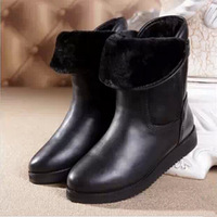 Brand New 2014 Winter Martin Boots Women Warm Boot Ankel Short High Quality Genuine Leather Flat Warm Shoes Black Size 35-40