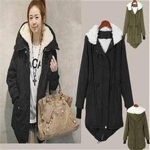 2014 Fashion Casual Adjustable Waist Slim Coats Women Fall Winter Long Sleeve Pockets Zipper Hooded Warm Coats Women Black Green(China (Mainland))