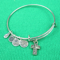 Hot Sale Alex and Ani Style Bangles Cross Charm adjustable bangle Free Shipping