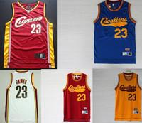 S-XXL LeBron James #23 Cleveland Jersey, Vintage Mesh Embroidery LeBron James Throwback Basketball Jersey Cleveland 23 Jerseys