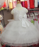 1pcs 2014 New arrive White children Christmas party dress,Kids girl lace tutu princess dress, girls Wedding Dresses 3-10year old