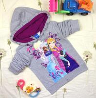 New 2014 Latest Original Snow Romance Frozen Anna&Alsa Girls Hooded Sweater Coat Children Outerwear