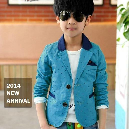 2015 New dot print long sleeve boys blazers children wedding clothing kid casual suits & autumn jackets, C250(China (Mainland))