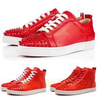 Cheap Lou Spikes Red Bottom Louis Junior Mens Womens Flats Framboisine High Top Low Casual Sneakers Rouge De Mars Classic Shoes