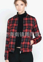 2014 New arrival red and black plaid coat British style vintage jacket pocket zipper outerwear 0024