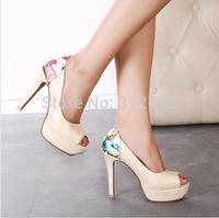 Women Cone Heels Shoes 2014 Brand New High Heels Platform Pumps Peep Toe Lady's Party Shoes Slip On sapatos femininos