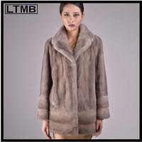 LTMB Grey mink fur coat fur fashion ladies full sleeve turn down collar genuine fur coat slim style overcoat
