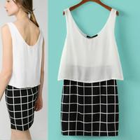 2014 New Fashion Ladies' sexy patchwork plaid Dress V neck Sleeveless causal slim desigual evening party brand designer dress