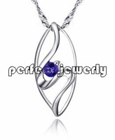 Sapphire pendant Free shipping Perfect Jewelry! natural sapphire pendant 925 sterling silver plate 18k white gold Fine jewelry