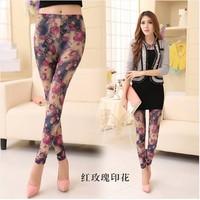 Hot!  2014 New Fashion Leggings Mmilk Silk Female Thin Elastic Printed Leggings