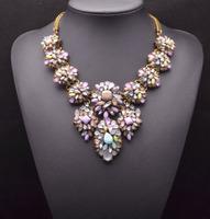 2014 ZA pink color gem crysatl necklaces & pendants statement flower collar choker necklace jewelry accessories 8412