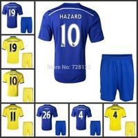 Thailand quality kits 14 15 Chelsea soccer jerseys HAZARD DIEGO COSTA home football shirt+short OSCAR away Soccer uniform set