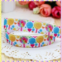 5/8'' Free shipping Fold Over Elastic FOE sugar printed headband headwear hairband diy decoration wholesale OEM P3331