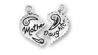 Free shipping 50pairs a lot special rhodium plated mother daughter  charms
