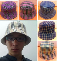 Wholesale NEW 2014 Brand Casual Women Fishing Boonie Hats Hiking Polo Bucket Hat Men Plaid Bob Folding Free Shipping