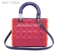 2014 New wholesale fashion leather ladies handbags five plaid women shoulder bag famous designers brand evening bag 9926