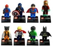 Super Toy  8 pcs/lot 45mm Building Super Heroes Minifigures Blocks Toys 3 Cards Retail Box