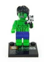 Super Toy Green 45mm Building Super Heroes Blue Minifigures Blocks Toys 3 Cards Retail Box