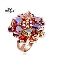 AAA Colorful Rhinestone Zircon Ring Women Wedding Ring Gold Plated Ring Fine Jewelry ZC239RG