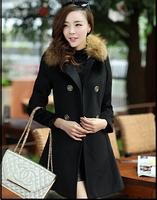 High Quality 2014 Wool Coat Fur Collar Breasted Cooked Slim Elegant Overcoat