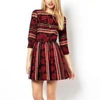 New Fashion Ladies' elegant RED floral print striped backless Dress three quarter sleeve causal slim prom dress--H927