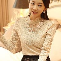 2014 New Spring Korean Women's Wild Plus size Long sleeve Slim Cutout Basic Lace blouse Women Lace shirt