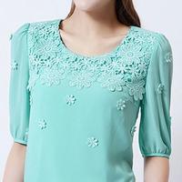 2014 Summer Flower Lace Cutout Half-sleeve Chiffon Blouse shirt Women Blouse Lace 3D Flower