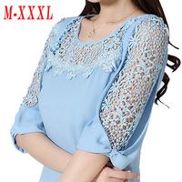 Women's Plus size Cutout Lace Chiffon blouse 2014 Summer New Fashion Half sleeve Bow Chiffon blouse Lace blouse Women shirt