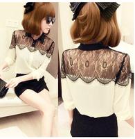 White chiffon black lace blouses fashion women2014 ladies long sleeve shirt splicing beautiful online free shipping s- xxxl plus