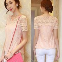 Women's Diamond Cute Lace blouse 2014 Summer Short-sleeve Slim Cutout Diamond V-neck Lace blouse