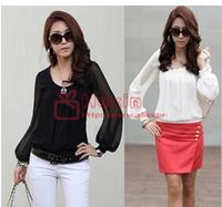 East Knitting chiffon long-sleeved shirt collar blouse fashion 2014 women hot sale free shipping