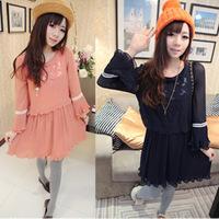 101#Free shipping 2014 New spring  women Diadia temperament irregular pleated chiffon dress lady fashion sketch dress
