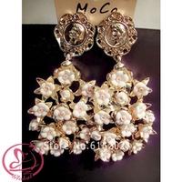 brincos grandes 2014 Baroque Vintage Full Flower Dangle Earrings Luxury Gold long earrings for women