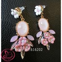 Fashion Earrings 2014 New Brand Baroque Fresh Drop Earrings Resin Crystal Long Earrings Flower Dangle Earring