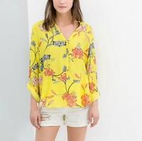 New Fashion Ladies' elegant floral print yellow blouses V neck long sleeve OL shirts casual slim brand designer tops