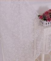 Fashion flower curtain yarn Hi-quality  balcony sheer Rustic curtain tulle white cortinas para sala