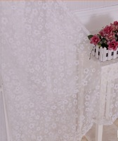 Fashion flower curtain yarn Hi-quality fabric/customize finished products balcony sheer Rustic curtain tulle white
