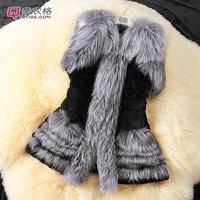 2014 Autumn and Winter warm New Silver Fox Fur Vest gilet outerwear womens fashion fur coat plus size M-2XL