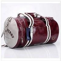 Free shipping 2014 Men's barrel bag shoulder oblique cross PU Men's messenger bag for man fashionable cylinder sports gym bag