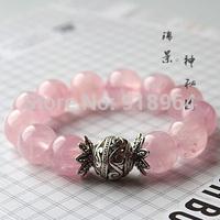 D640 Man Woman Fashion Tibet Jewelry National Pink Quartz Beads Buddha Lucky Energy Healthy Power Bracelets