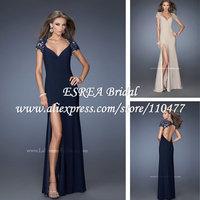 V Neck Elegant Lace Short Sleeve Sheath High Slit Long Navy Blue Evening Dress Sexy with Open Back HM601