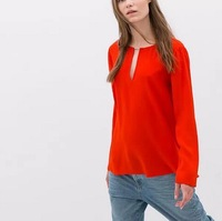 New Fashion Ladies' elegant front hollow out sequined neck blouses long sleeve shirts casual slim brand designer tops