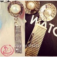 Drop Earrings 2014 new Vintage brand Baroque Exaggeration Comb Shape Pearl Gold long earrings for women dangle earring jewelry