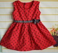Children's clothing girls dress  Red polka dot girl's pettiskirt  with belt  children's clothing ball gown  free shipping