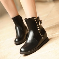 new 2014 wedges pu leather ankle boots for women winter boots martins motorcycle rivets punk shoes woman fashion black brown red