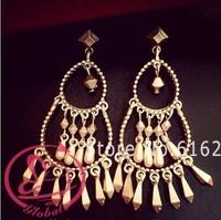brincos grandes 2014 new Vintage brand Exaggeration Geometric Gold long earrings for women tassel dangle earring jewelry