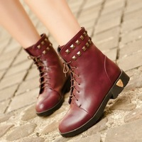 new 2014 flat pu leather ankle boots for women motorcycle boots martins rivets lace up punk shoes woman fashion black brown red