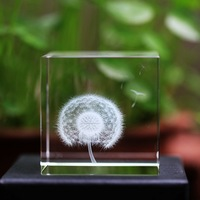 Free Shipping 60mm cube innovative crystal birthday gifts favors for fathers dandelion image laser crystal